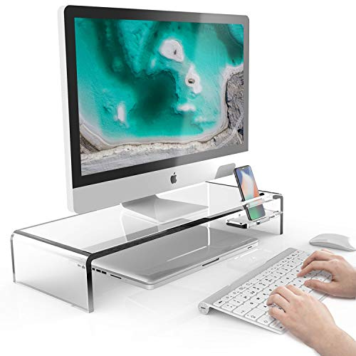 METIYA Acrylic Monitor Stand with Phone Holder, Clear Monitor Riser 20.5 x 8 x 3.5 inches, Ergonomic Computer Stand for Office Home, PC Desktop Stand for Keyboard Storage & Laptop TV Screen