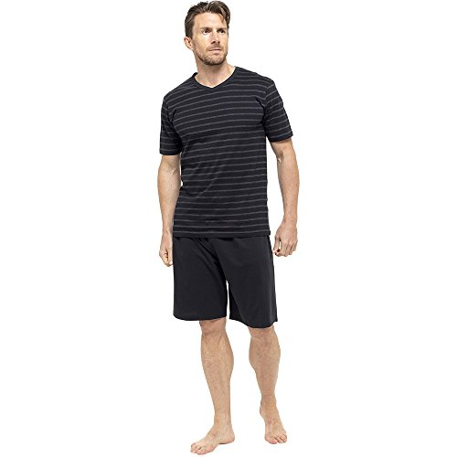 MensGentlemens NightwearSleepwear Striped Short Sleeve T Shirt Shorts Pyjama Set Black Large