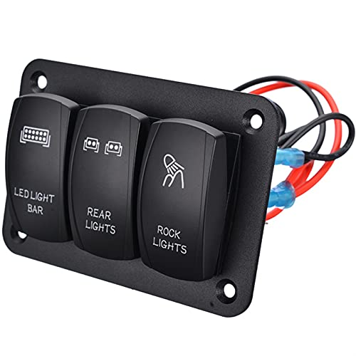 LICHONGUI Duradero 3 Panel de interruptores de Rocker Rocker 12V 24V ON/Off Toggle Interruptor Panel de Control Azul LED Luz para Barco Auto Car Marine ATV UTV