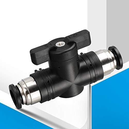 Válvula de mano, conector de unión rápida de empuje neumático de 8 mm Válvula de mano, unión neumática de tipo de enchufe rápido + junta roscada, interruptor de válvula de aire, montaje de tubos