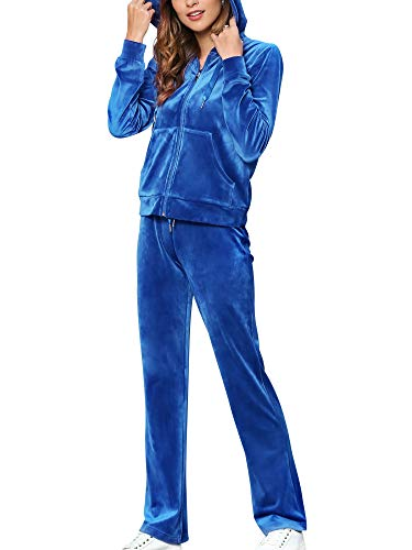 Womens 2 Piece Sweat Suits for Women Set Sports Outfits Workout Track Suit Long Sleeve Hoodie Sweatshirt Pants Dark Blue