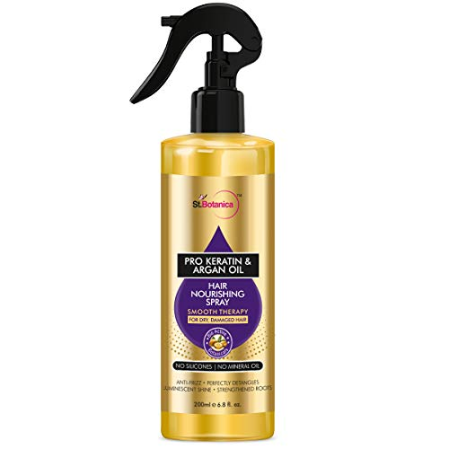 StBotanica Pro Keratin & Argan Oil Hair Nourishing Smooth Therapy Spray - For Dry, Damaged Hair, No Silicone or Mineral Oil, 200 ml (STBOT572)