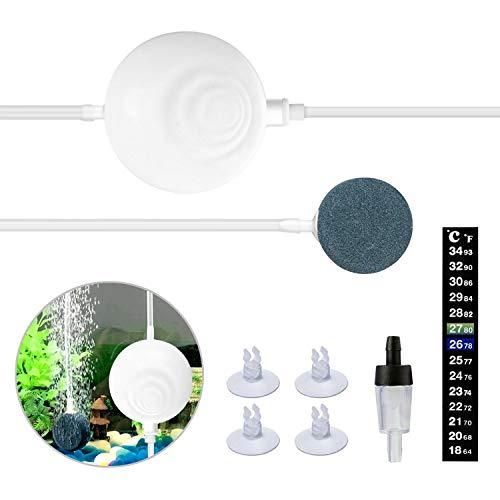 icemoon Aquarium Air Pump Ultra Silent High Energy Saving Air Pump Air Pump,1 W/360 ml/min Fish Tank Pump with Air Stone,Silicone Tube,Check Valve,Suction Cup Clips and Nano Thermometer (White)