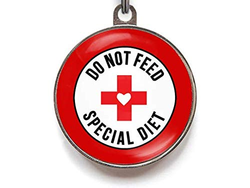 Wag-A-Tude Tags Do Not Feed Special Diet Pet ID Tag - Pet Tag for Pets On A Special Diet (Small)