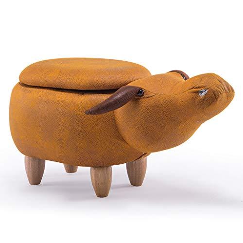 PLL creatieve cartoon dierenkruk massief houten buffalo kruk huis woonkamer oranje opslag kruk bank veranderen schoenenbank