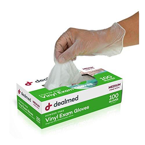 Dealmed Vinyl Exam Gloves, Powder Free, Latex Free, Clear (Box of Medium)