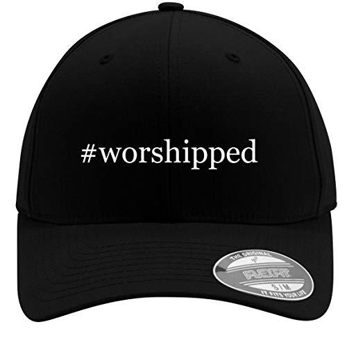 #Worshipped - Adult Men's Hashtag Flexfit Baseball Hat Cap, Black, Large/X-Large