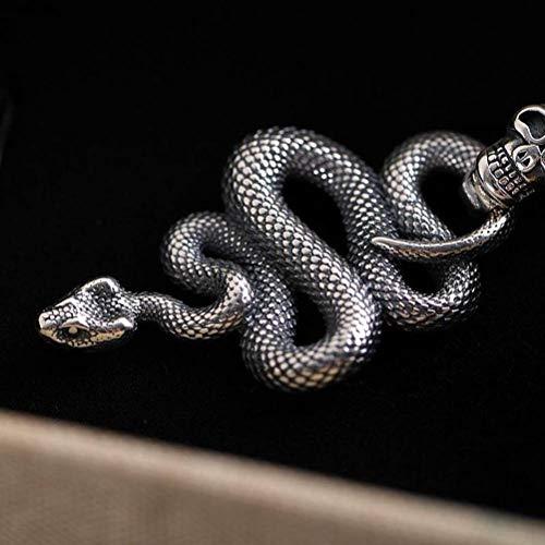 S925 Silber Vintage Thai Silber Männermode Schädel Schwarz Mamba Cobra Silber Anhänger, WOZUIMEI, Anhänger (ohne Kette), 925er Silber