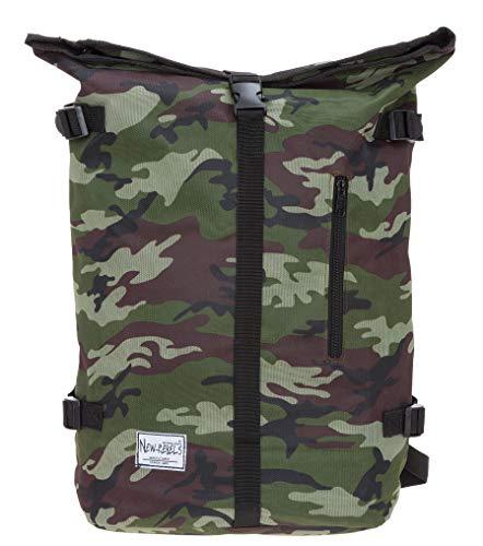 New Rebels Rucksack Courier A4 Roll Up Kurierrucksack + Flasche (Camouflage)
