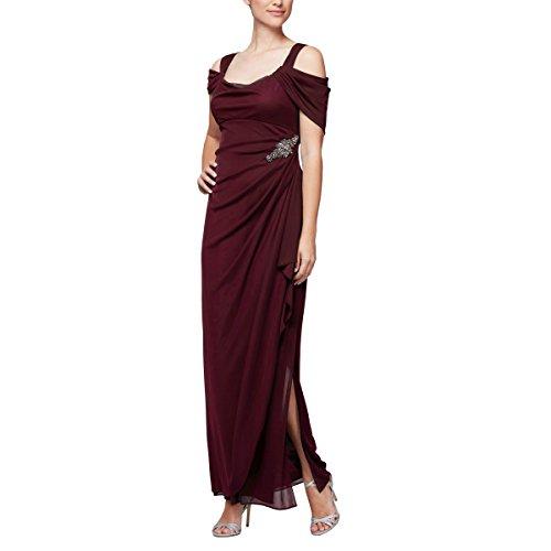 Alex Evenings Women's Long Cold Shoulder Dress (Petite and Regular Sizes), Beaded Wine, 16