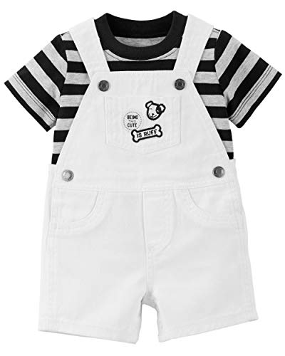 Carter's Boys Being This Cute is Ruff 2-Pc. Shortalls Set, White, 9m