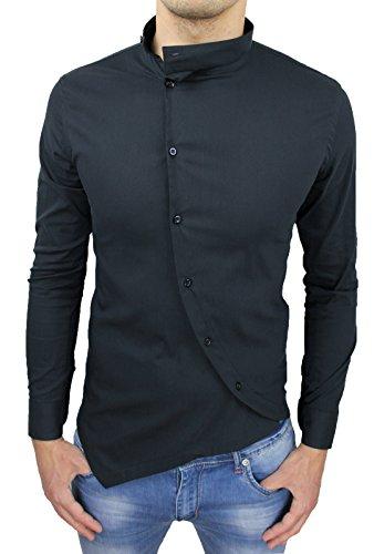 Camicia Uomo Cotone Slim Fit Casual Elegante con Colletto Coreana e Bottoni trasversali (L, Nero)