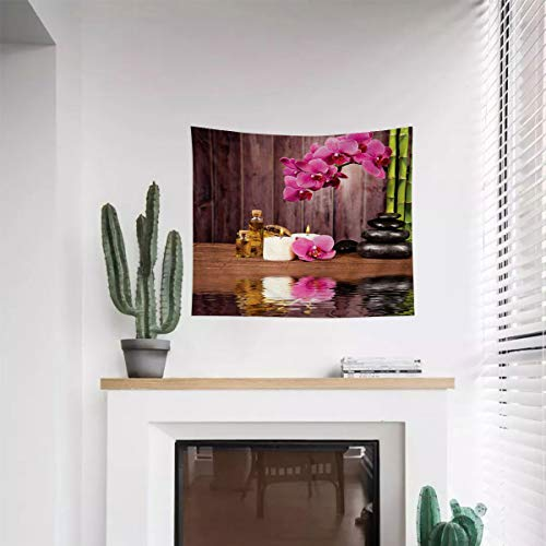 Miles Ralph Spa Comfortable Tapestry Decoration Spa Flower and Water Reflection Aromatherapy Bamboo Blossom Candlelight Print Living Room Wall Decoration 59.1'x82.7' Pink Green Umber