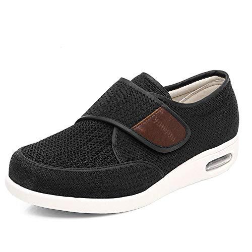 nohbi Zapatillas de pies hinchados,Los Zapatos para diabéticos se Pueden Aumentar y Ajustar,el Pulgar es valgo,pies Grandes,pies hinchados,Zapatos Negros-Negro_47,Pantuflas Pacientes diabéticos