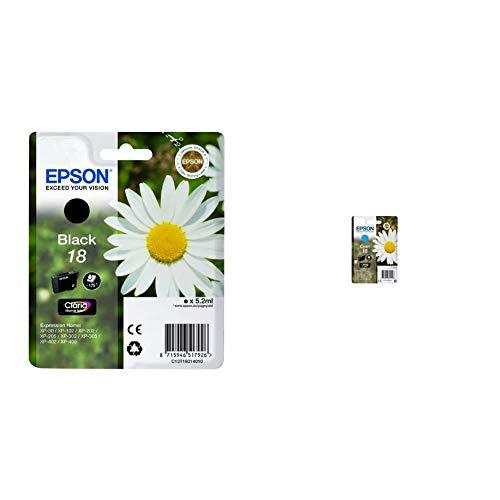 Epson C13T18014012 - Cartucho de tóner Adecuado para XP30, Color Negro válido para los Modelos Expression Home + C13T18024022 - Cartucho de Tinta