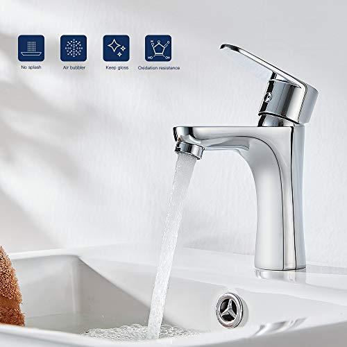 Lonheo Badarmatur Waschbecken Wasserhahn, Mischbatterie Waschtisch Armatur fürs Bad, Einhandmischer Waschtischarmaturen mit 50 cm edelstahl heißer und kalter Schlauch