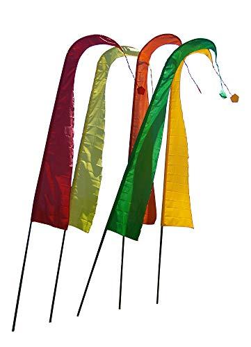 DEKOVALENZ - Bali-Fahnen Stoff NUSA DUA mit Rauten-Spitze, versch. Farben+Längen, Farbe:goldbronze, Fahnenlänge:3 Meter