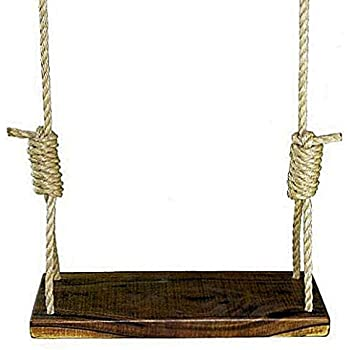 Rustic American Black Walnut 24 Inch 4 Hole Tree Swing - Kids Adult Wood Outdoor Patio Rope Included