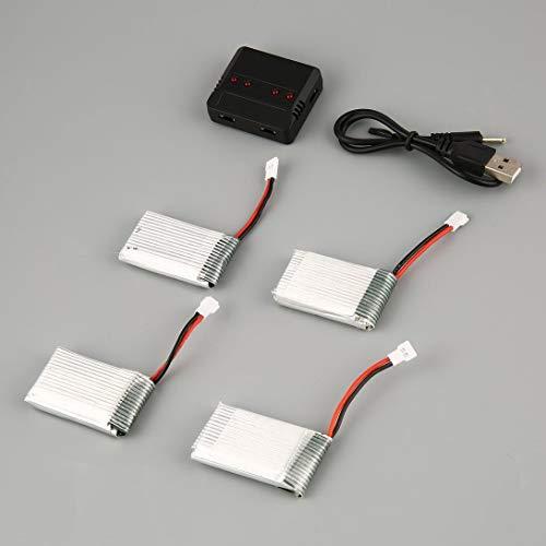 Swiftswan Nuova Versione aggiornata del Set di Caricabatterie Standard della Batteria Lipo + 4 batterie da 3,7 V 850 mAh per Il Drone Syma X5C X5C X5SC X5SW