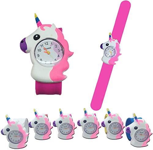 Dizie 1 Stück Kinder Slap Regarder Einhorn Comic Kinder Uhr Slap Armband Spielzeug aus hochwertigem Silikon für Studenten Kinder Stil zufällig