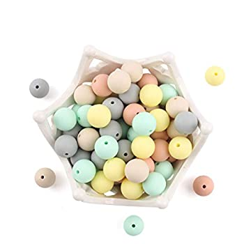 Baby Silicone Beads 15MM 50pcs BPA Free Food Grade Beads Mix-Color Series DIY Jewelry Chewable Nursing Necklace Accessories