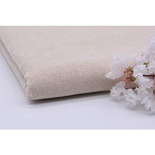ONECHANCE Tejido de algodón de lino original por metros Color sólido 100x150cm Color Original Tamaño 2 metros