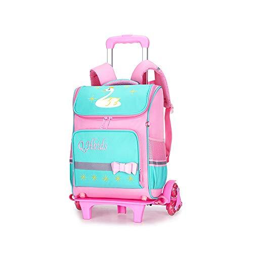 Luqifei Bambini Trolley Trolley Schoolbag Scuola elementare Zaino 6 Ruote Salire Le Scale Sacchetto di Spalle Doppio Scopo di Grande capienza Trolley Bookbag Bagaglio a Mano (Color : Pink, Size : B)