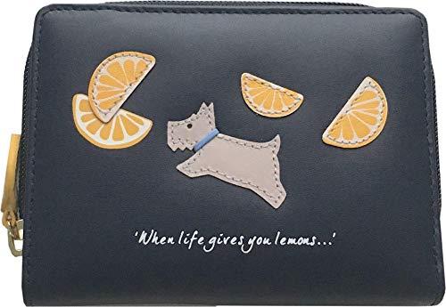 Radley Lemons Geldbörse aus Leder mit Reißverschluss, mittelgroß, Marineblau