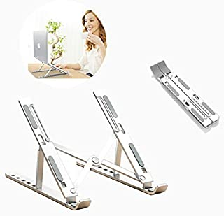 Imguardz Laptop Stand, Adjustable Aluminum Computer Tablet Stand, Ergonomic Fully Collapsible Portable Desktop Holder for MacBook Air Pro, Dell XPS, HP, Lenovo, All 10-15.6 inch Laptops, Silver