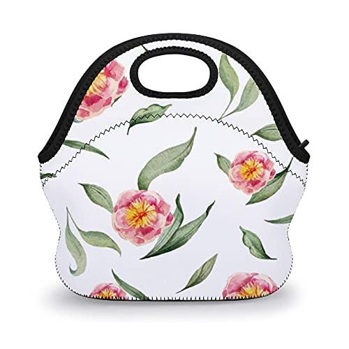 Moderna bolsa de almuerzo de neopreno floral verde para hombres, mujeres, trabajo, escuela, almuerzo para niños y niñas