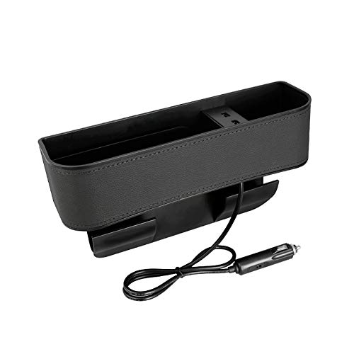 Organizador para asiento de coche, con bolsillo con doble USB de carga, de piel, para billetera, monedas, llaves, tarjetas, vasos y gafas de caramelo, color negro