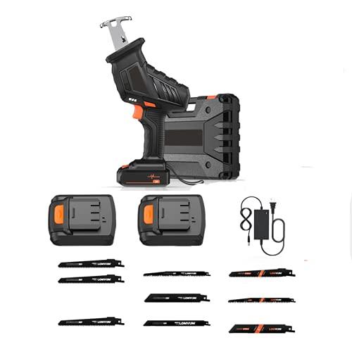 XDXDO Sierra De Sable Recargable De 12V, Sierra De Sable Sin Cable con Batería De 2X2.0Ah Y 9 Cuchillas, LED, Bloqueo De Seguridad, 3200RPM, Carrera: 15Mm, para Cortar Madera Y Metal