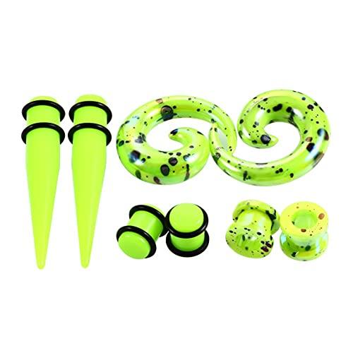 X/L Juego de dilatadores para orejas y dilatadores en espiral, acrílico, anillo tórico, 2 mm - 10 mm, dilatador de orejas, 8 piezas (color: 03, tamaño: 4 mm)