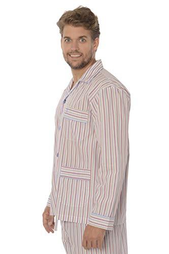 El Búho Nocturno Pijama de Caballero de Manga Larga clásico a Rayas de Tela popelín de algodón para Hombre L Rojo-Beige-Celeste-Blanco