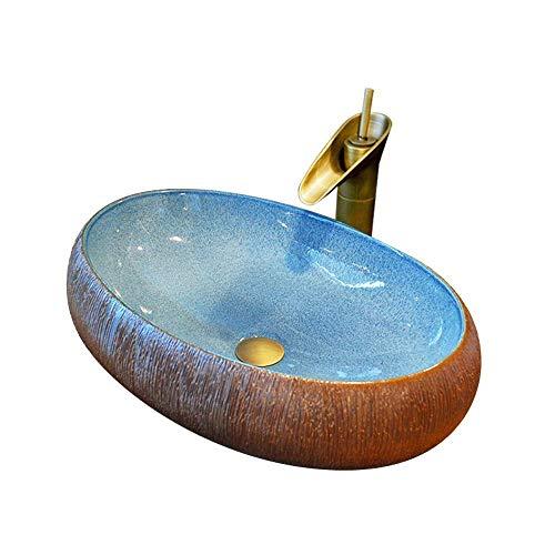 Opzetwastafel, ovaal, glanzend, om neer te zetten, van keramiek, badkamer, keramiek, 60 x 15 cm (kraan niet inbegrepen)