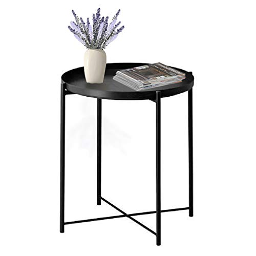 Tray End Table, Round Metal Tray Flower Table Side Sofa Table, Foldable Anti-Rust and Waterproof Outdoor & Indoor Snack Table Accent Coffee Table with Removable Tray for Living Room Bedroom (Black)