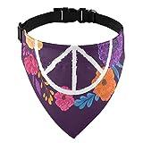 Símbolo de la paz hippie con flores, hojas y brotes, collares de martingala para perros, pañuelos para perros, pañuelos para gatos, para mascotas, collares para perros, accesorios para disfraces para
