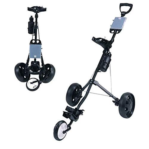 LRX Carro de Golf Junior Carro de Golf 3 Ruedas, Campo de Push Cart un Segundo for Abrir y Cerrar, Caddie de Golf Plegable,...