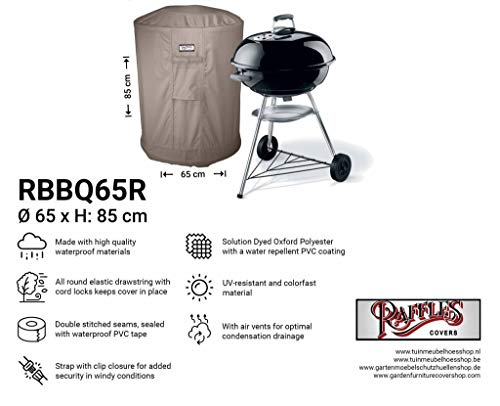Raffles Covers NW-RBBQ65R Universele hoes voor bbq Ø 65 cm H: 85 cm BBQ beschermhoes, weerdeksel voor buitenkeuken, Barbecue cover, Outdoor Grill cover