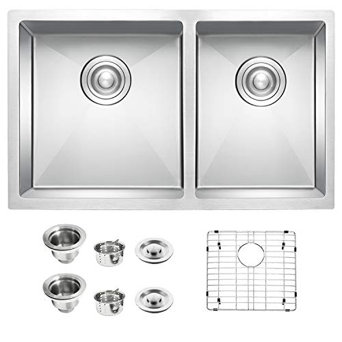 TopCraft Kitchen Sink Double Bowl 32-inch Undermount Kitchen Sink Stainless Steel Kitchen Sink 60/40 Kitchen Sinks- HRO3319