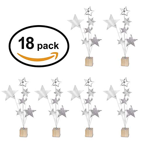 23 Bees | Table Centerpieces for Party | Photo Holder (Rustic Silver Handcrafted Star Design, 18 Pack) | Centerpiece Holders for Tables with Individual Card Number Slots | Dining Room & Kitchen Decor