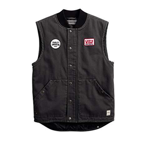 Harley-Davidson Men's Quilted Slim Fit Workwear Vest, Black (XXX-Large)