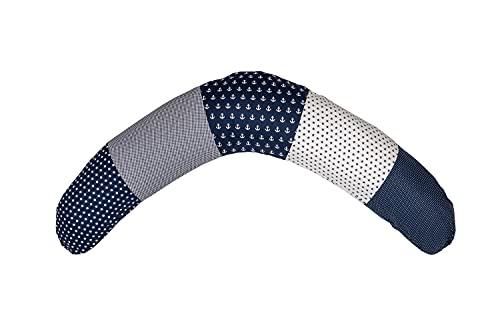 Cojín de lactancia de ULLENBOOM ® Azul Ancla (190x38cm; relleno: microperlas silenciosas de EPS; sirve también de cojín de apoyo, almohada para embarazadas, para dormir de lado)