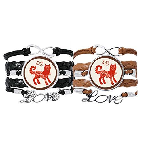 DIYthinker Año de perro Animal China Zodiaco pulsera de mano correa de cuero cuerda pulsera doble...