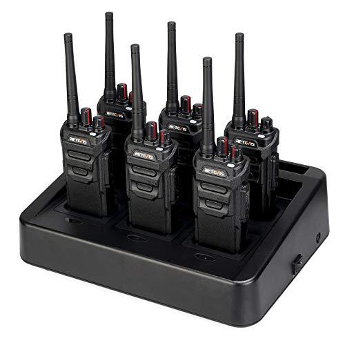 Retevis RT648 Walkie Talkie, IP67 Impermeable, PMR446 Licencia Libre, Walkie Talkie con Cargador de Seis Vías, VOX Scan, Squelch Monitor Tot, Walkie Talkie Largo Alcance (6 Piezas, Negro)