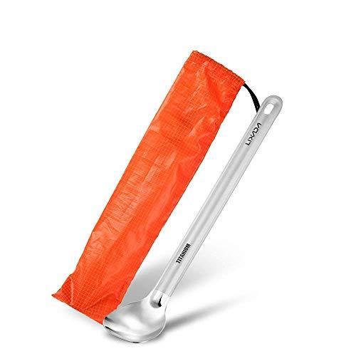 Lixada Titanium Lange Griff Löffel mit poliert Schüssel für Picknick (1 Stück)