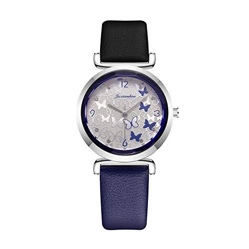 Reloj de cuarzo analógico con bloques de color para hombres y mujeres, reloj de pulsera informal con banda de cuero PU de doble color y mariposa, reloj de pareja para damas y niñas
