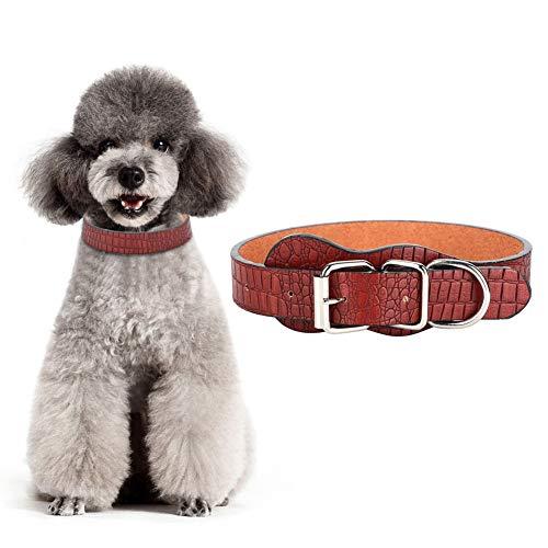 Hond Kraag Kunstleer Huisdier Verstelbare Kraag Zachte Gecapitonneerde Ronde Puppy Kraag Lederen Hardware Dubbele D-Ring Hond Kraag met Speciale Lijnen voor Kleine Honden Koffie