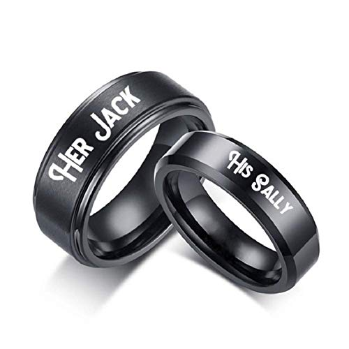 XAHH His Sally Her Jack Black Stainless Steel Romantic Couple Ring Lovers Promise Anniversary Engagement Wedding Bands Men Size 13