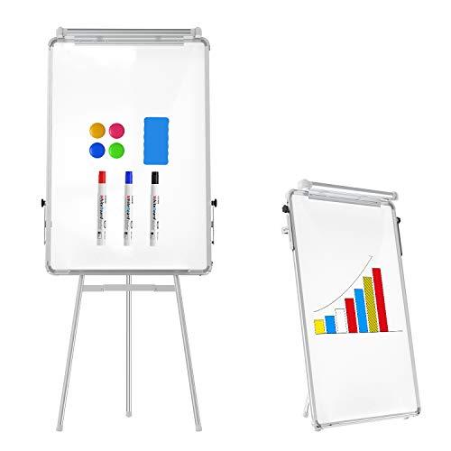 Pizarra blanca magnética de borrado seco de 90 x 60 cm con trípode de altura ajustable para oficina, hogar y aula.